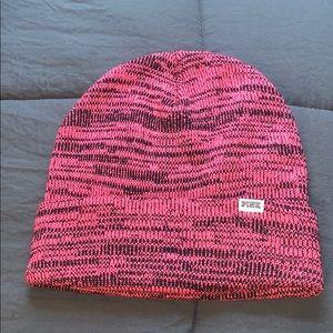 Pink and black heathered beanie